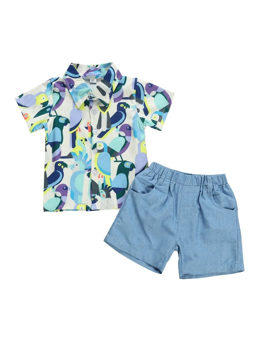 kiskissing wholesale 2 pieces little boy birds print shirt and shorts set