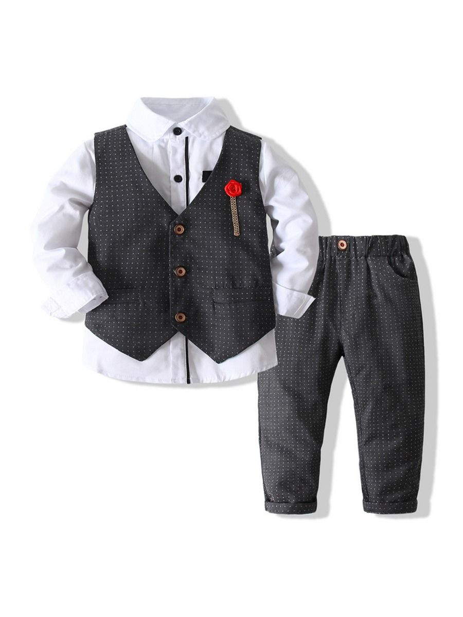 kiskissing wholesale 3 pieces kid boy formal polka dots outfit shirt vest pants