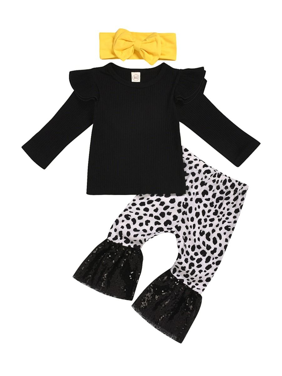 kiskissing wholesale 3 pieces kid girl black ribbed top leopard sequins flared pants headband set