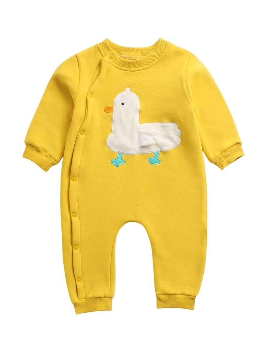 kiskissing wholesale infant toddler embroidery duck jumpsuit