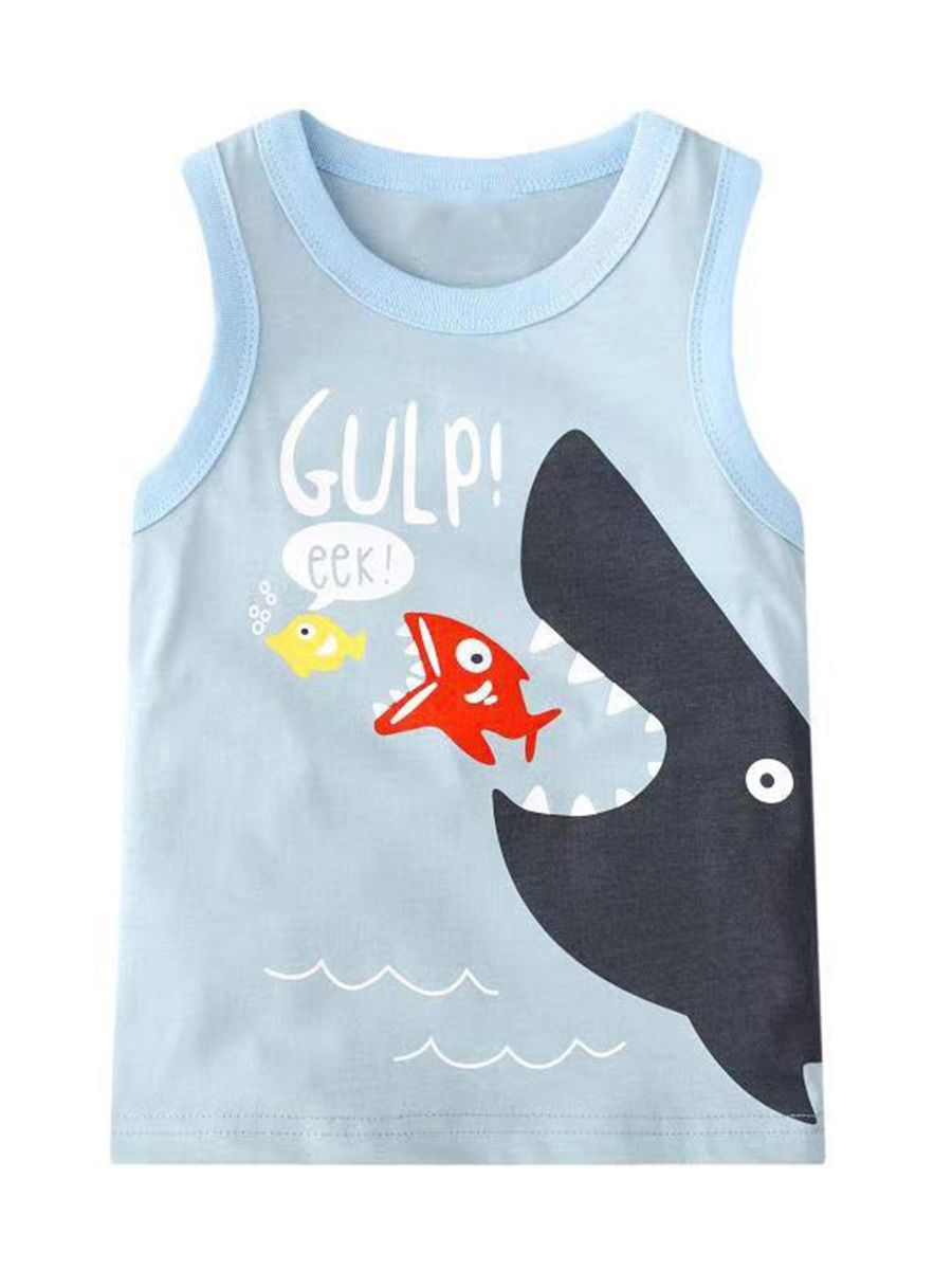 kiskissing wholesale kid boy fish print tank top