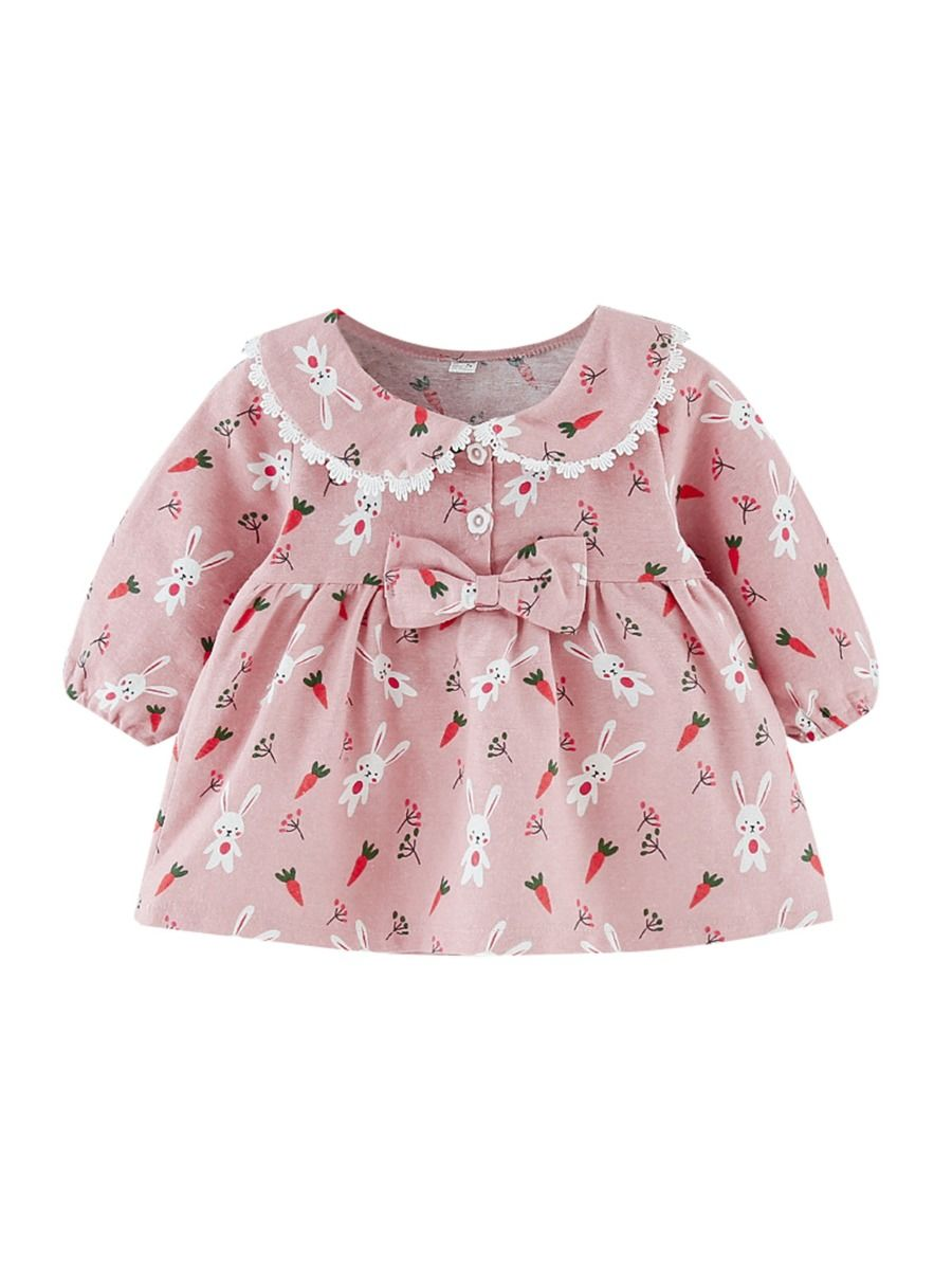 kiskissing wholesale toddler girl doll collar bow rabbit carrot print dress